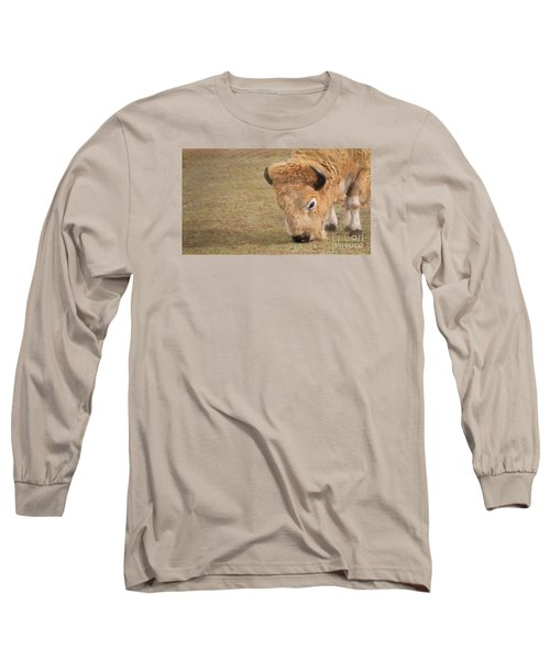 Grazing Buffalo Long Sleeve T-Shirt by Laurinda Bowling