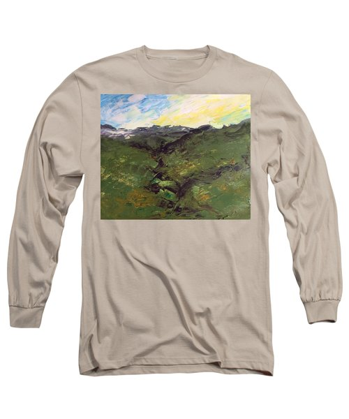 Long Sleeve T-Shirt featuring the painting Grazing Hills by Norma Duch