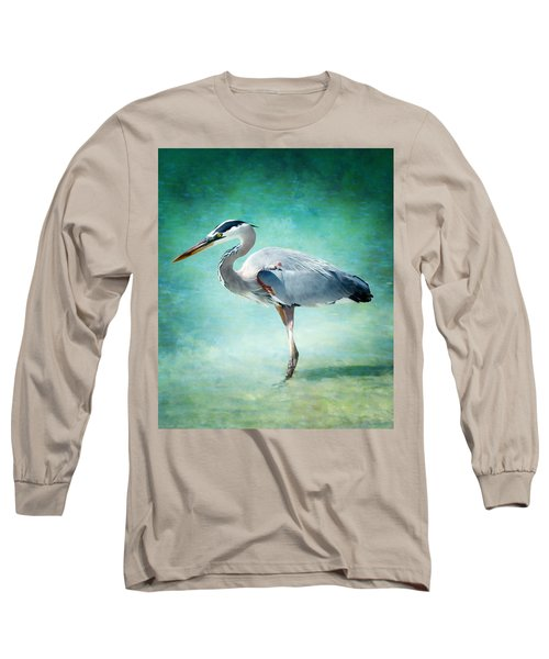 Great Blue Heron Long Sleeve T-Shirt by Ellen Heaverlo