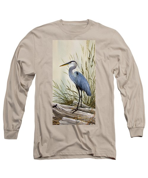 Great Blue Heron Shore Long Sleeve T-Shirt by James Williamson