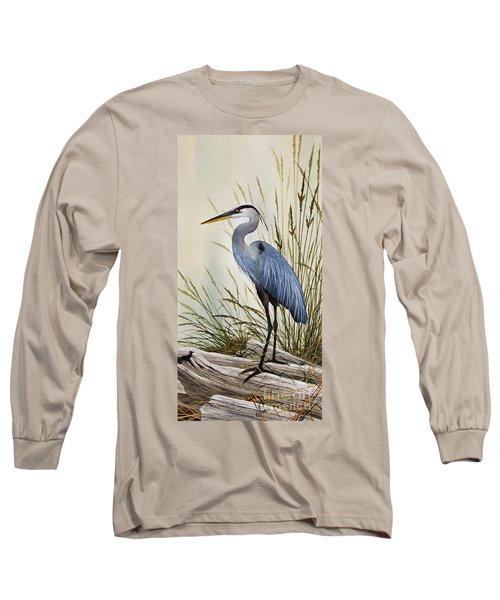 Great Blue Heron Shore Long Sleeve T-Shirt