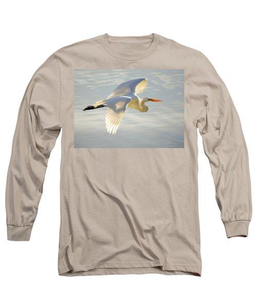 Great Egret Glow Long Sleeve T-Shirt