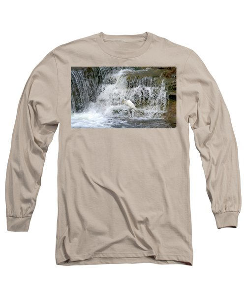 Great Egret Hunting At Waterfall - Digitalart Painting 4 Long Sleeve T-Shirt
