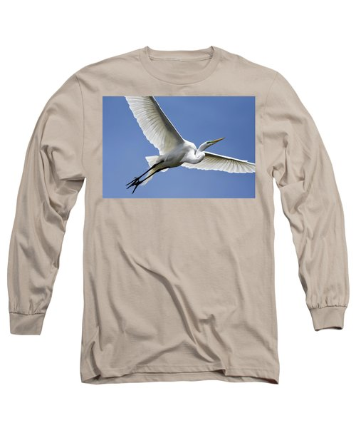 Great Egret Soaring Long Sleeve T-Shirt