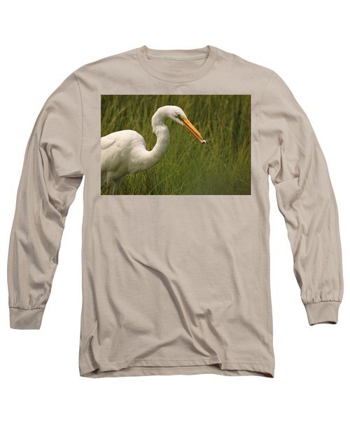 Great Egret With Lunch Long Sleeve T-Shirt