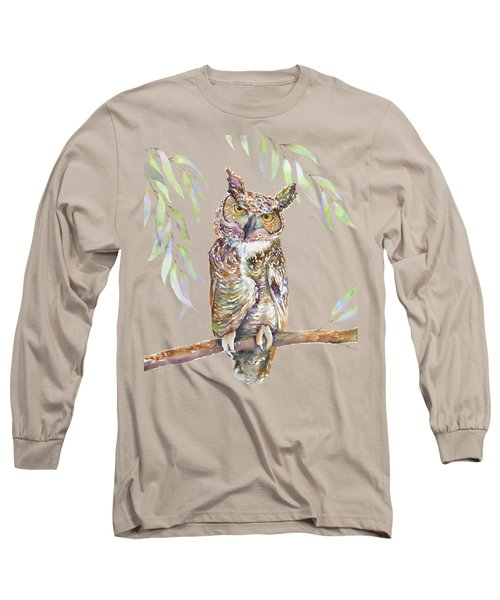 Great Horned Owl  Long Sleeve T-Shirt by Amy Kirkpatrick