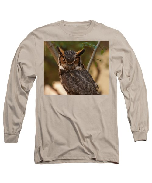Long Sleeve T-Shirt featuring the photograph Great Horned Owl In A Tree 2 by Chris Flees