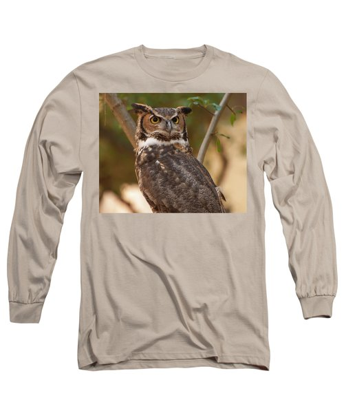 Long Sleeve T-Shirt featuring the photograph Great Horned Owl In A Tree 3 by Chris Flees