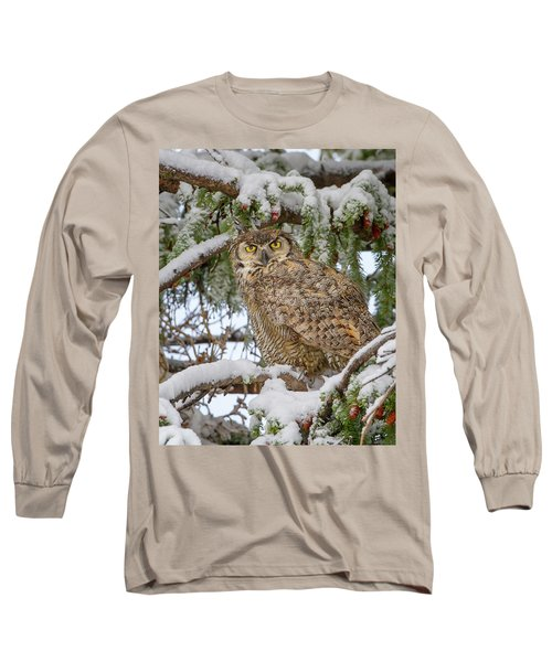 Great Horned Owl In Snow Long Sleeve T-Shirt by Jack Bell