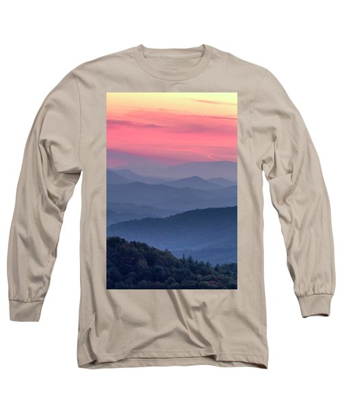 Great Smoky Mountain Sunset Long Sleeve T-Shirt by Teri Virbickis