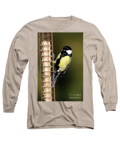 Great Tit On Feeder  Long Sleeve T-Shirt