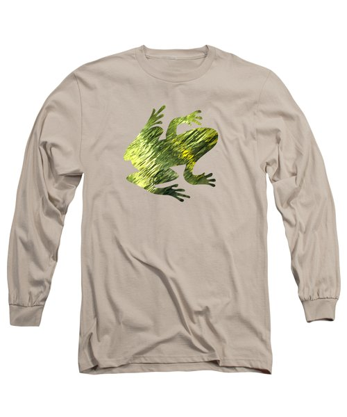 Green Abstract Water Reflection Long Sleeve T-Shirt by Christina Rollo