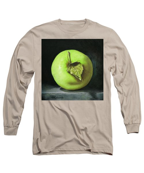 Green Apple With Leaf Long Sleeve T-Shirt by Marna Edwards Flavell