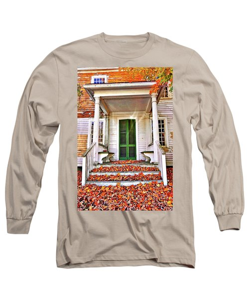 Green Autumn Door Long Sleeve T-Shirt by Joan Reese