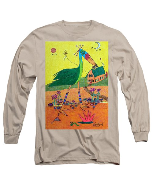 Green Crane With Leggings And Painted Toes Long Sleeve T-Shirt