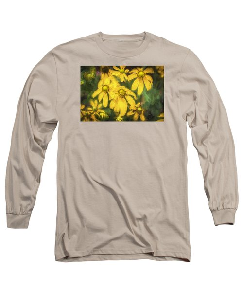 Green Headed Coneflowers Painted Long Sleeve T-Shirt by Rich Franco