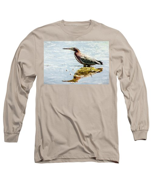 Green Heron Bright Day Long Sleeve T-Shirt by Robert Frederick
