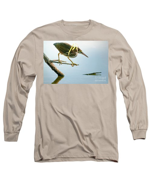 Green Heron Sees Minnow Long Sleeve T-Shirt by Robert Frederick