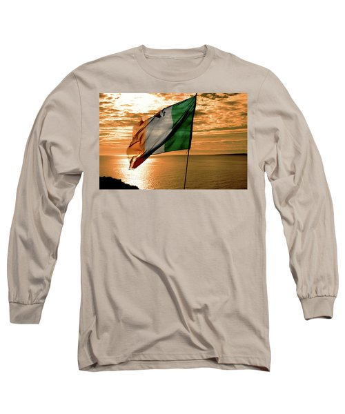Flag Of Ireland At The Cliffs Of Moher Long Sleeve T-Shirt