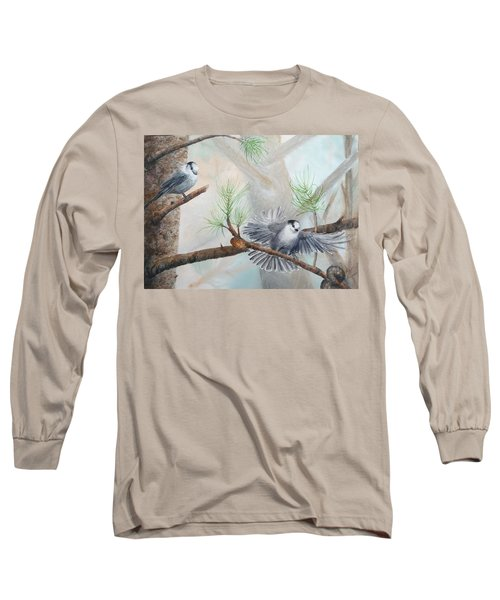 Grey Jays In A Jack Pine Long Sleeve T-Shirt