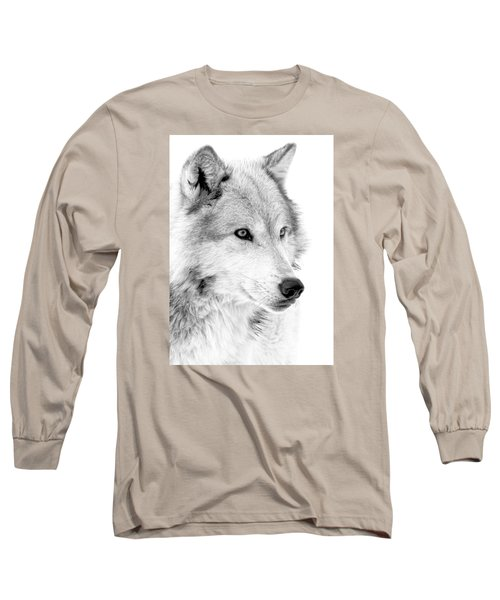 Grey Wolf Profile Long Sleeve T-Shirt by Athena Mckinzie