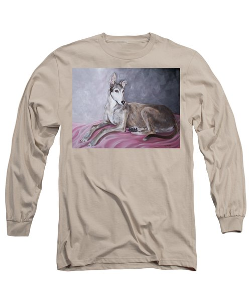 Greyhound At Rest Long Sleeve T-Shirt by George Pedro