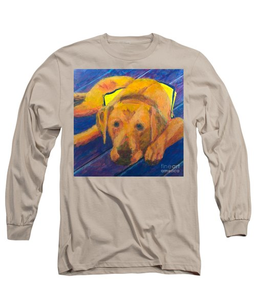 Long Sleeve T-Shirt featuring the painting Growing Puppy by Donald J Ryker III
