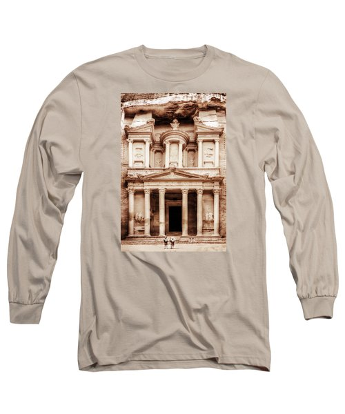 Guarding The Petra Treasury Long Sleeve T-Shirt by Nicola Nobile