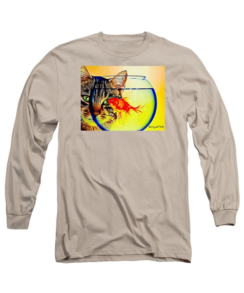 Long Sleeve T-Shirt featuring the painting Guess Who's Coming To Dinner? by Ted Azriel