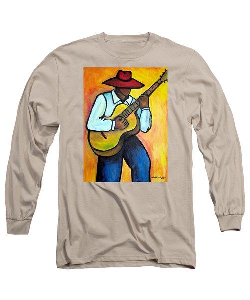 Guitar Man Long Sleeve T-Shirt by Diane Britton Dunham