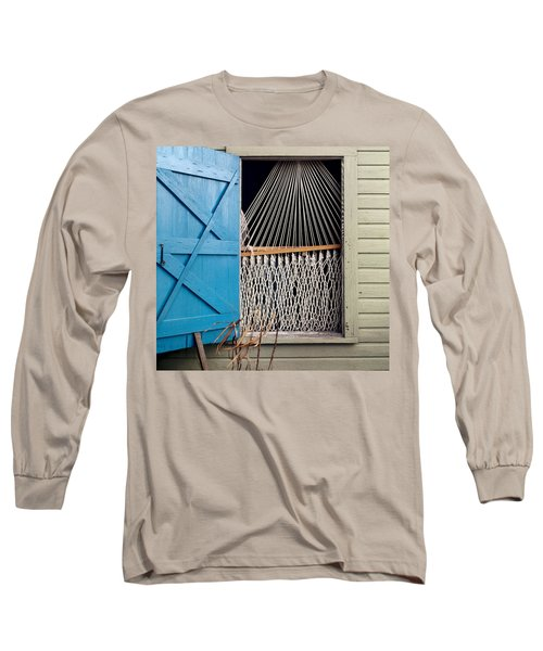 Long Sleeve T-Shirt featuring the photograph Hammock In Key West Window by Brent L Ander