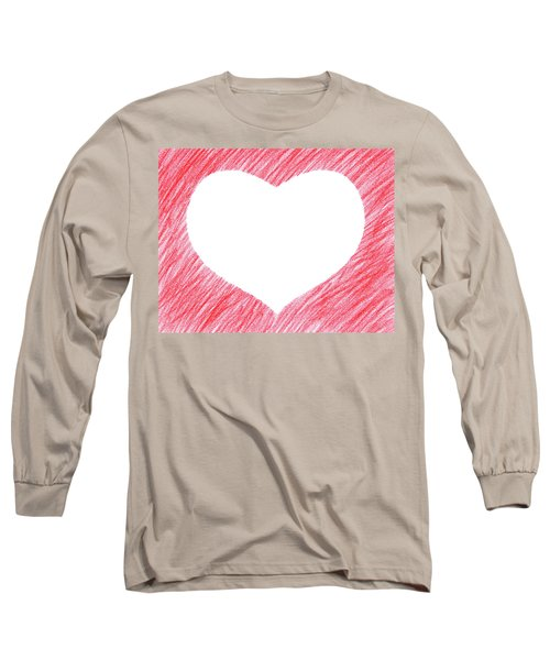 Hand-drawn Red Heart Shape Long Sleeve T-Shirt by GoodMood Art