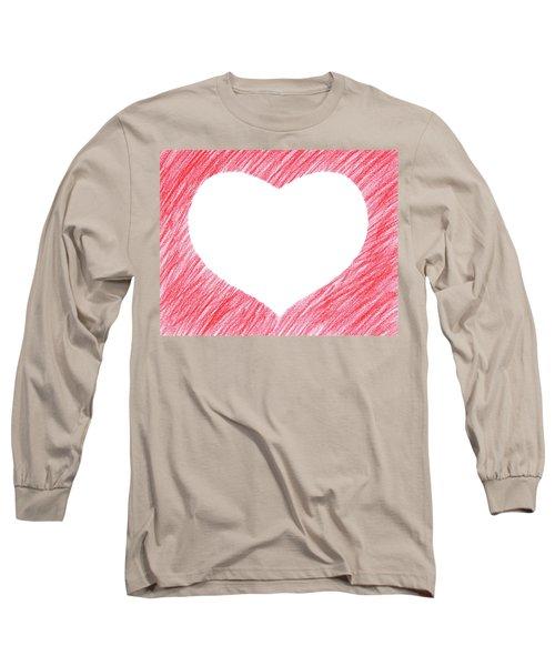 Hand-drawn Red Heart Shape Long Sleeve T-Shirt