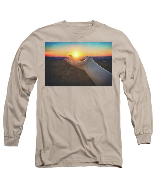 Long Sleeve T-Shirt featuring the photograph Hand Holding Sun - Sunset At Lapham Peak - Wisconsin by Jennifer Rondinelli Reilly - Fine Art Photography
