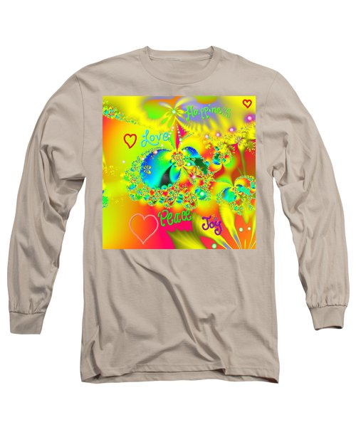 Long Sleeve T-Shirt featuring the mixed media Happiness by Kevin Caudill