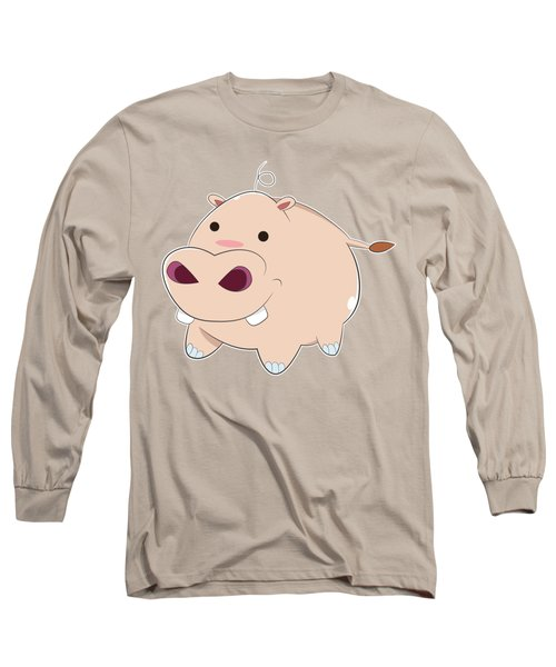 Happy Cartoon Baby Hippo Long Sleeve T-Shirt by Catifornia Shop
