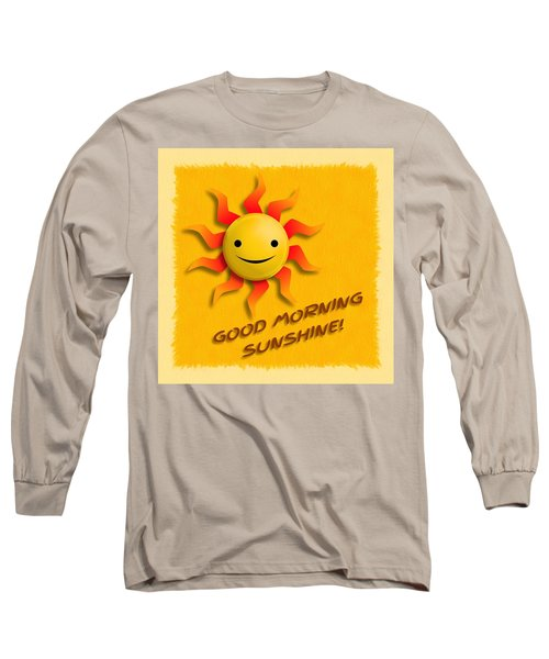 Long Sleeve T-Shirt featuring the digital art Happy Sun Face by John Wills
