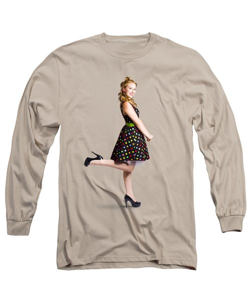 Happy Woman In Retro Dress Long Sleeve T-Shirt