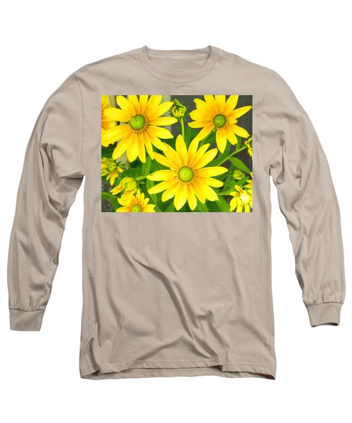 Happy Yellow Summer Cone Flowers In The Garden Long Sleeve T-Shirt by Amy McDaniel