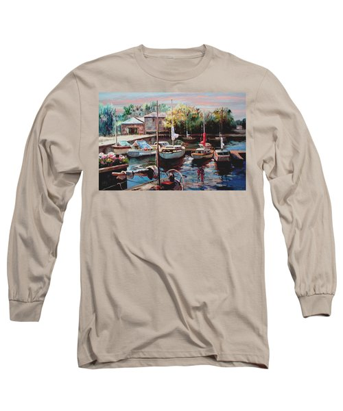 Harbor Sailboats At Rest Long Sleeve T-Shirt