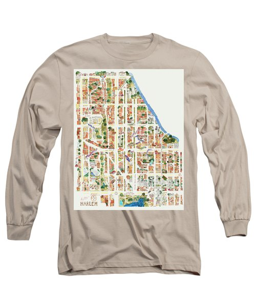 Harlem Map From 106-155th Streets Long Sleeve T-Shirt