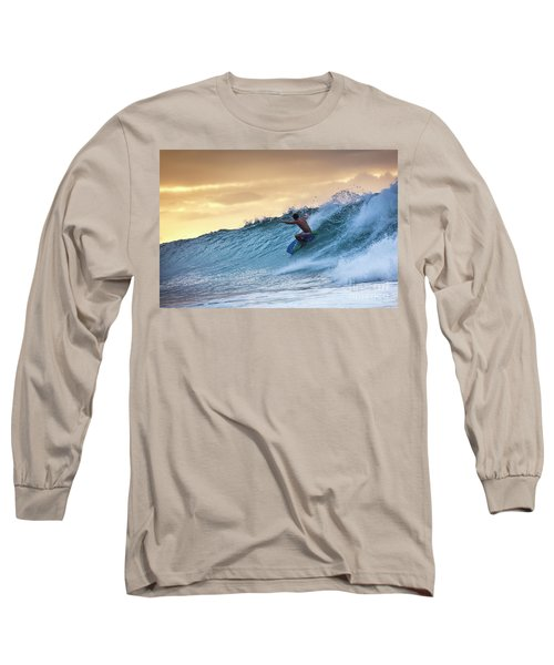 Hawaii Bodysurfing Sunset Polihali Beach Kauai  Long Sleeve T-Shirt