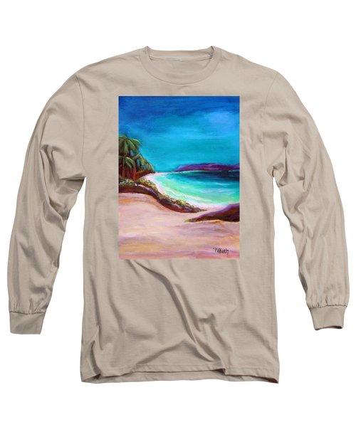 Hawaiin Blue Long Sleeve T-Shirt by Patricia Piffath