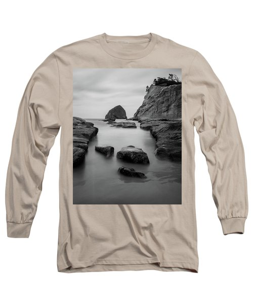 Haystack Rock In Bw Long Sleeve T-Shirt