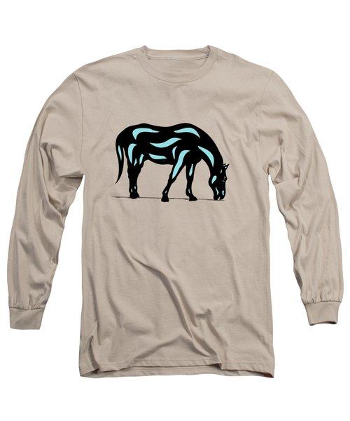 Hazel - Pop Art Horse - Black, Island Paradise Blue, Hazelnut Long Sleeve T-Shirt