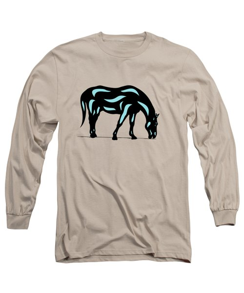 Hazel - Pop Art Horse - Black, Island Paradise Blue, Hazelnut Long Sleeve T-Shirt