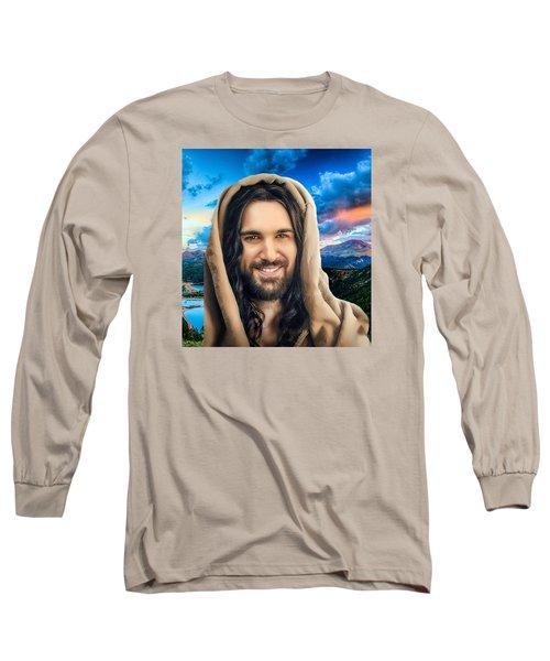 Long Sleeve T-Shirt featuring the digital art He Watches Over Me 2 by Karen Showell