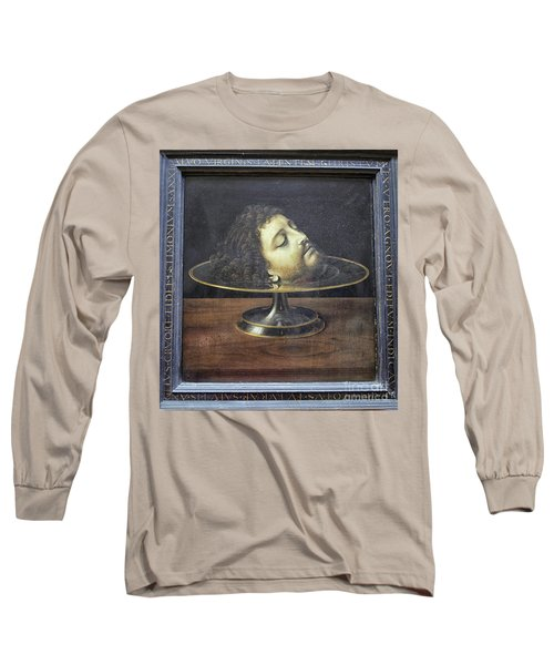 Long Sleeve T-Shirt featuring the photograph Head Of John The Baptist, 1507, With Frame And Inscription -- By by Patricia Hofmeester