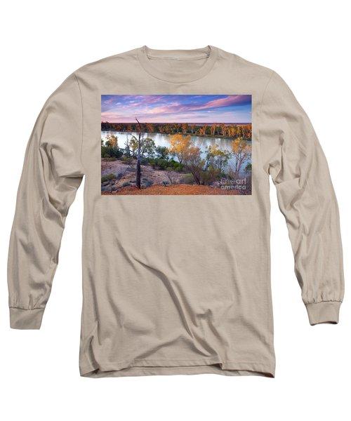 Heading Cliffs Murray River South Australia Long Sleeve T-Shirt by Bill Robinson