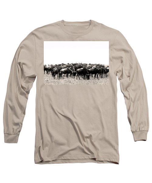 Herd Of Wildebeestes Long Sleeve T-Shirt